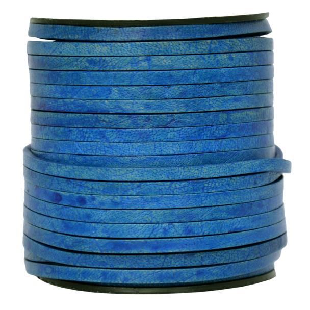 Royal Blue Flat Leather Cord  3mm x 2mm - 1 Yard