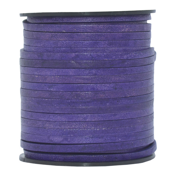 Violet Natural Flat Leather Cord  3mm x 2mm - 1 Yard