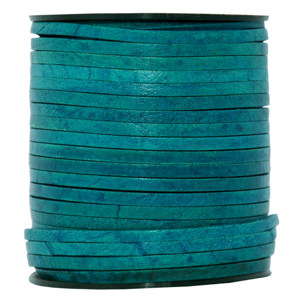 Turquoise Natural Flat Leather Cord  3mm x 2mm - 1 Yard