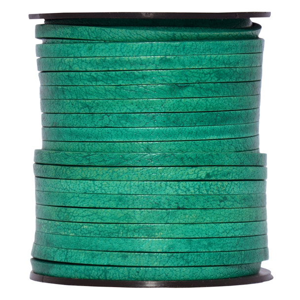 Sea Green Natural Flat Leather Cord  3mm x 2mm - 1 Yard