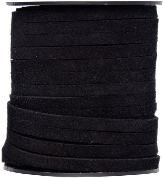 Black Flat Suede Leather Cord  5.0 MM - 1 Yard