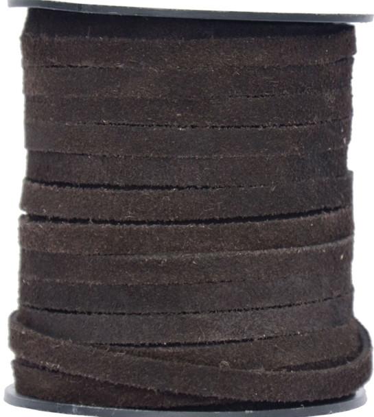Dark Brown Flat Suede Leather Cord  5.0 MM - 1 Yard