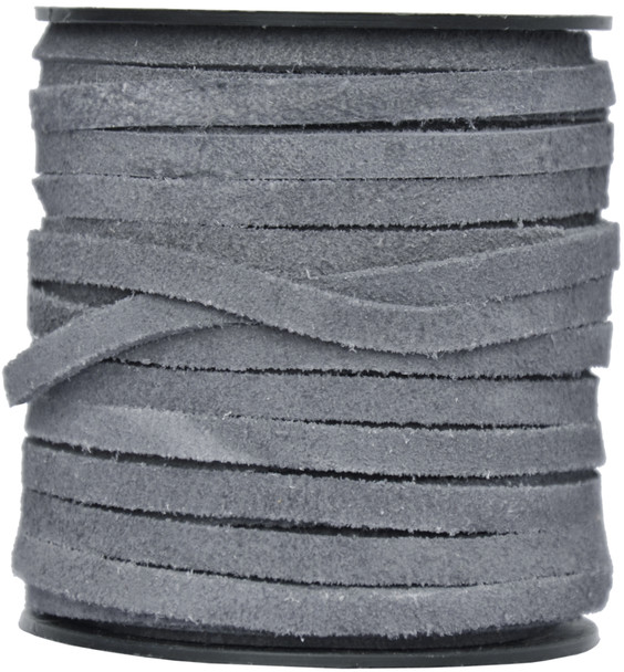 Gray Flat Suede Leather Cord  5.0 MM - 1 Yard