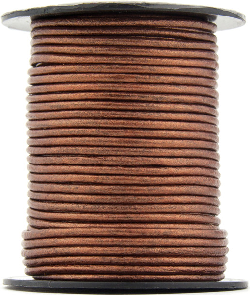 Copper Metallic  Round Leather Cord 1.5mm 50 meters