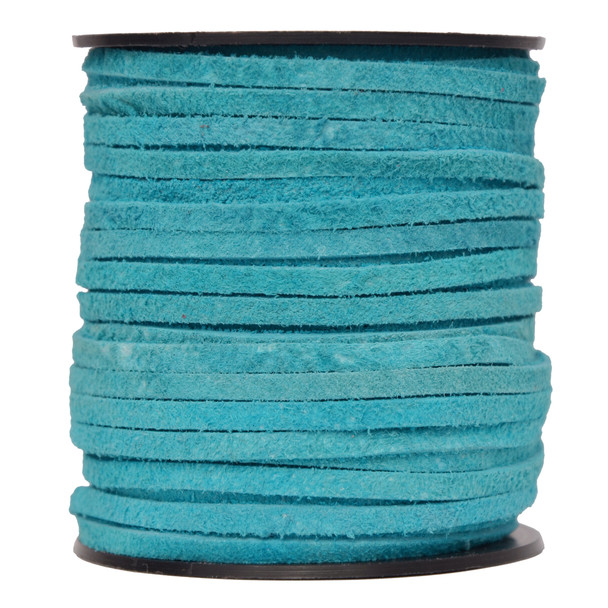 Sky Blue -Flat Suede Leather Cord  3.0 MM - 1 Yard