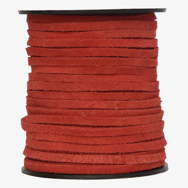 Red -Flat Suede Leather Cord  3.0 MM - 1 Yard
