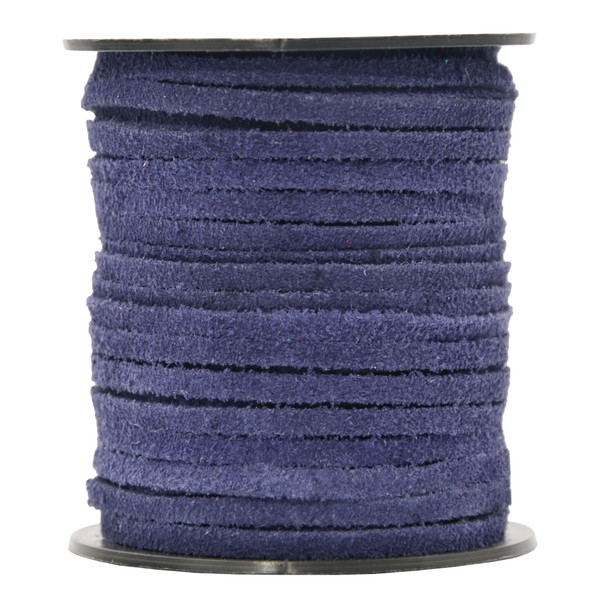 Navy Blue -Flat Suede Leather Cord  3.0 MM - 1 Yard