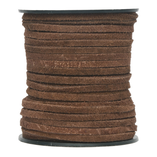 Brown -Flat Suede Leather Cord  3.0 MM - 1 Yard
