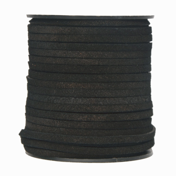 Black-Flat Suede Leather Cord  3.0 MM - 1 Yard