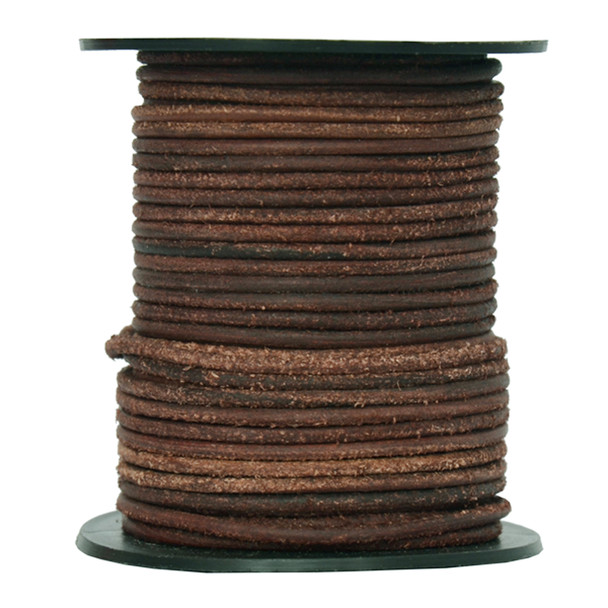 Round Suede Leather Cords- 2.0 MM -Brown Mahogany-Choose Length
