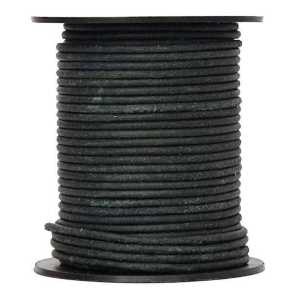 Round Suede Leather Cords- 2.0 MM -Dark Green-Choose Length