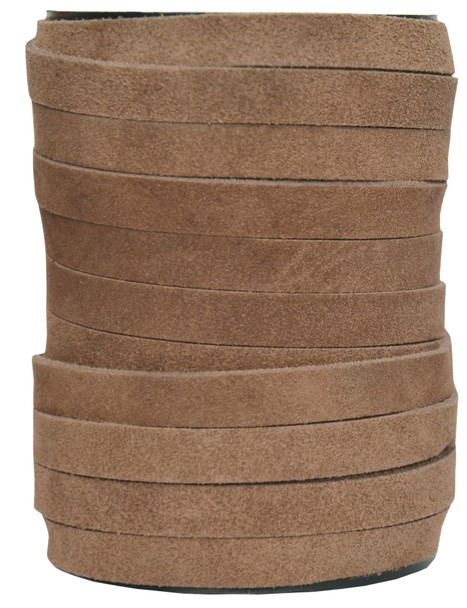 Light Brown -Flat Suede Leather Cord  10MM - 1 Yard