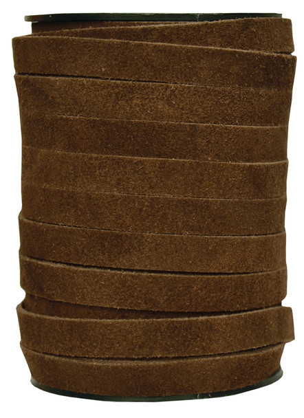 Brown -Flat Suede Leather Cord  10MM - 1 Yard