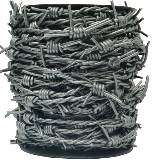 Gray Metallic Barbed Wire Leather Cord-1 Meter