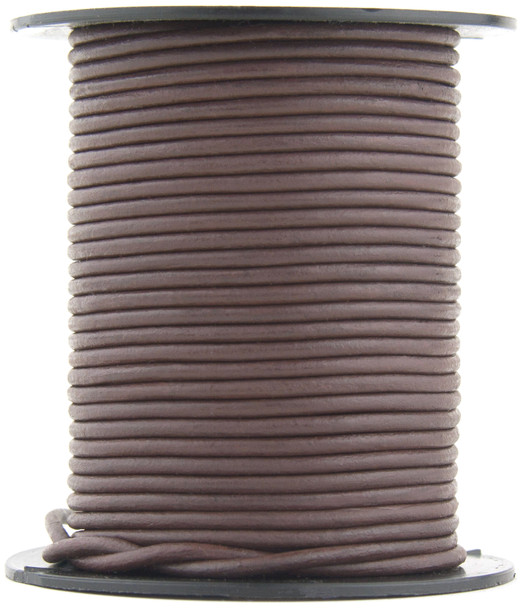 Brown Natural Round Leather Cord 2.0mm 100 meters