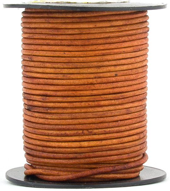 Brown Light Natural Dye Round Leather Cord 1.5mm 50 meters