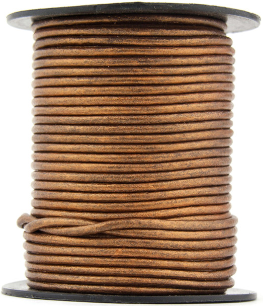 Bronze Metallic Round Leather Cord 1.5mm 100 meters