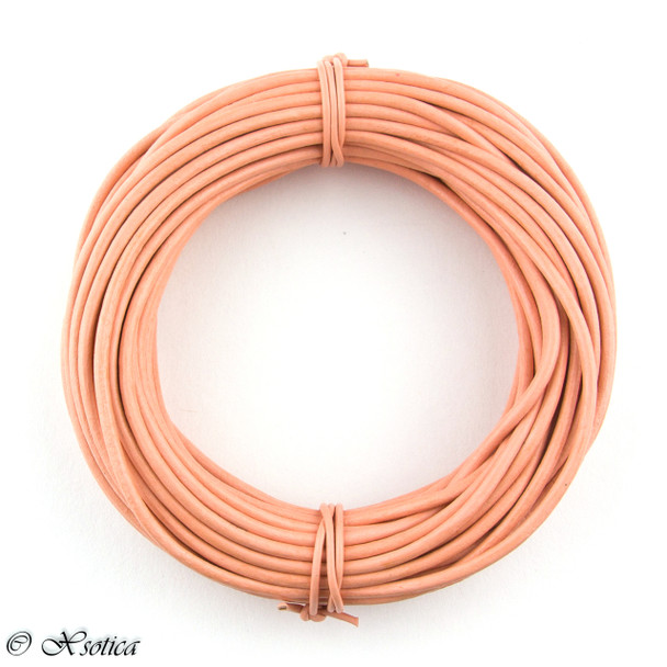 Peach Round Leather Cord 1.5mm 100 meters
