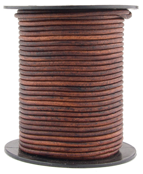 Brown Natural Dye Distressed Round Leather Cord 2.0mm 100 meters