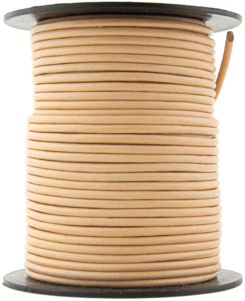 Beige Round Leather Cord 1.5mm 10 meters (11 yards)