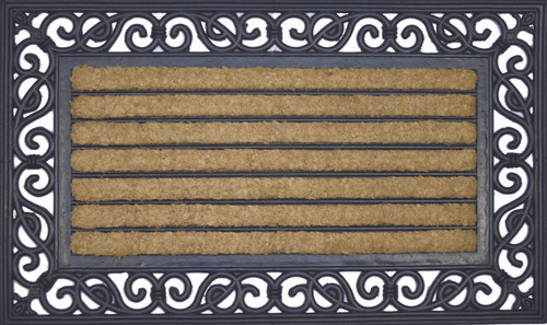 Coir Mat With Rubber Scroll Border