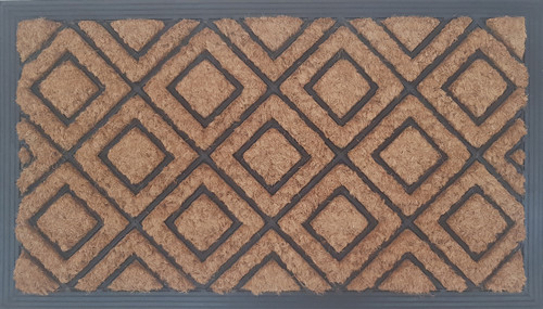 Coir door mat with rubber backing molded into a diamond patterns over the surface