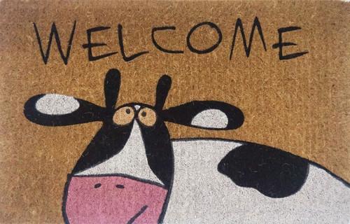Welcome Cow Printed Premium Quality Coir Door Mat