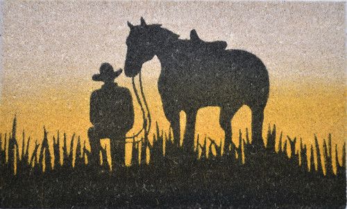 PVC Backed Coir with Horse Printed Silhouette