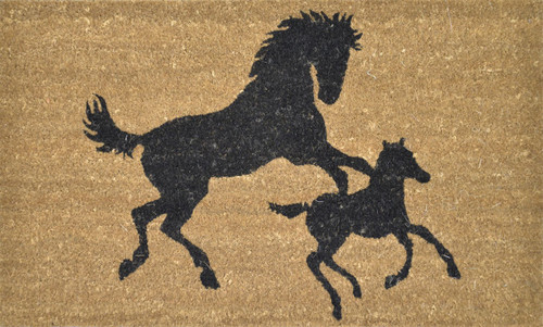 PVC Backed Coir with Horse and Foal Printed Mat