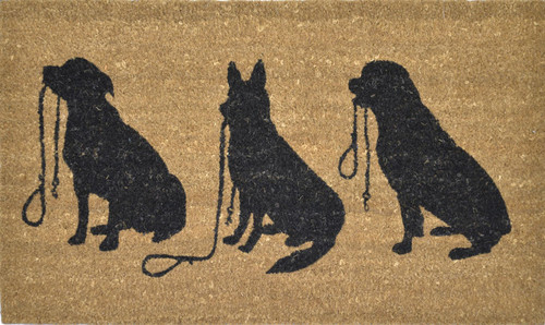 PVC-Backed- Coir-with-3-dogs-with-leash 45 x 75cm