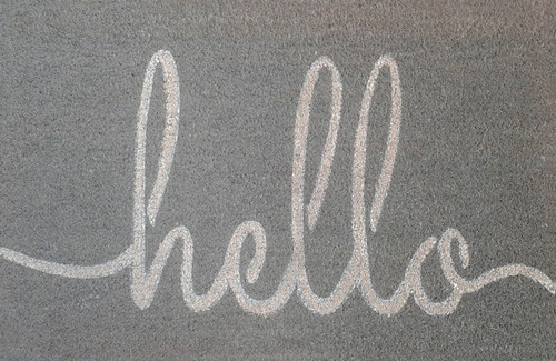 PVC Backed Coir Grey Hello 50 x 80cm