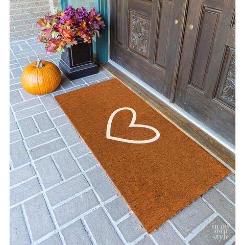 Premium Natural Coir 40mm Doormat with white love heart 55x 85cm