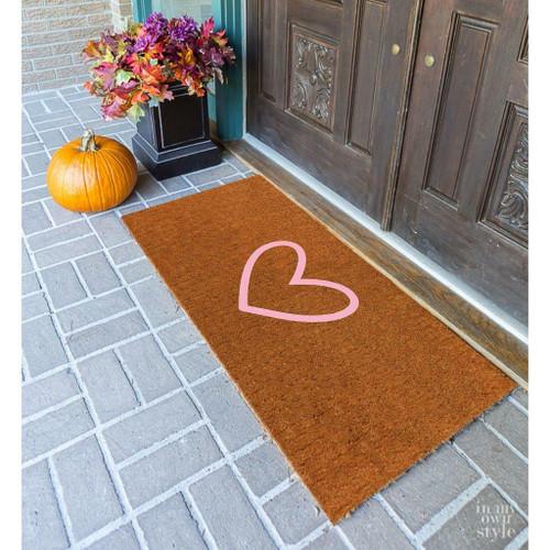 Premium Natural Coir 40mm Doormat with Pink love heart 55x 120cm