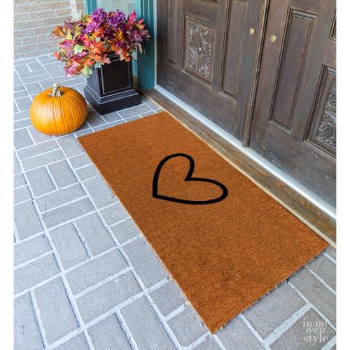Premium Natural Coir 40mm Doormat with Black love heart 55x 120cm