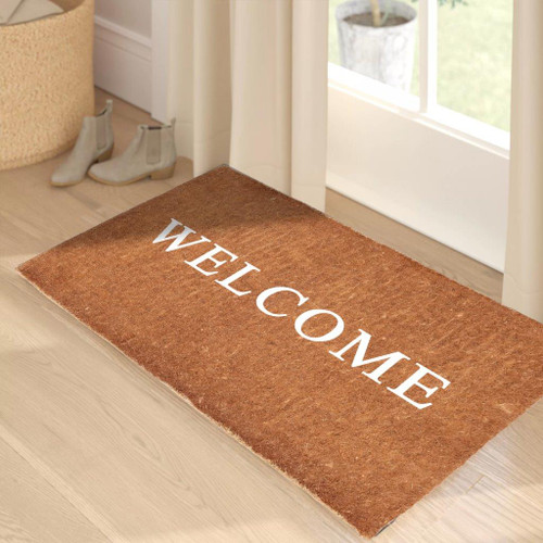 Premium Natural Coir 40mm Doormat with White Welcome 55x 85cm
