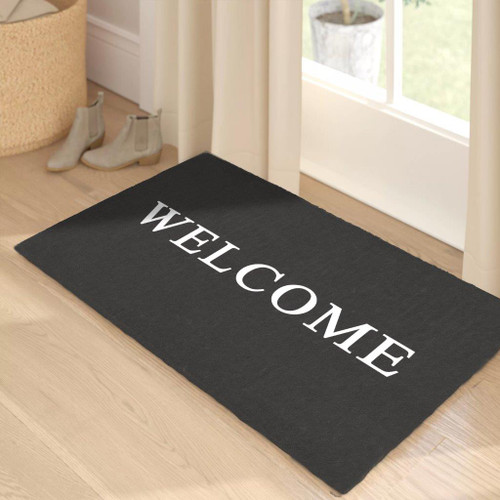 Premium Natural Coir 40mm Doormat Grey with White Welcome 55x 85cm