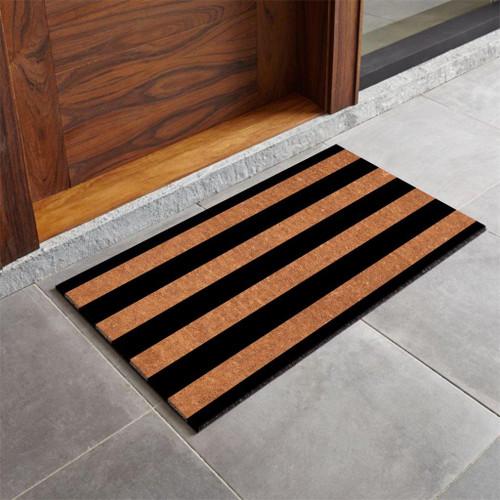 Premium Natural Coir 40mm Doormat Black Stripes 55x 85cm