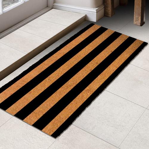 Premium Natural Coir 40m Black Stripes 55 x 120cm Doormat