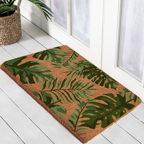 Premium Natural Coir 40m Monstera Palm  55 x 120cm Doormat