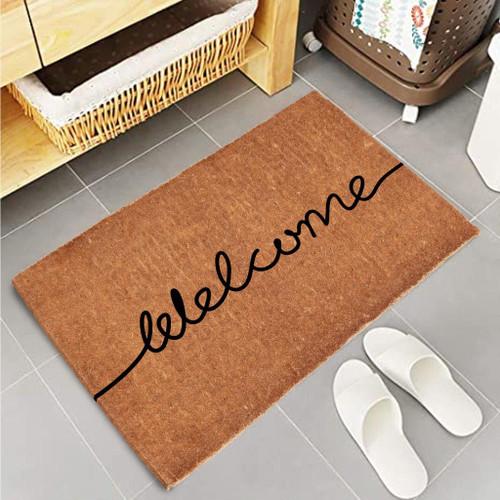 Premium Natural Coir 40mm Doormat Black Script Welcome print55x 85cm
