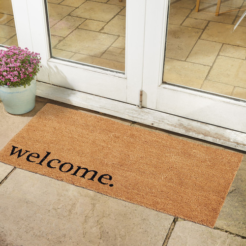 Large PVC Backed Coir Mat 15mm with printed Welcome 55 x 120cm