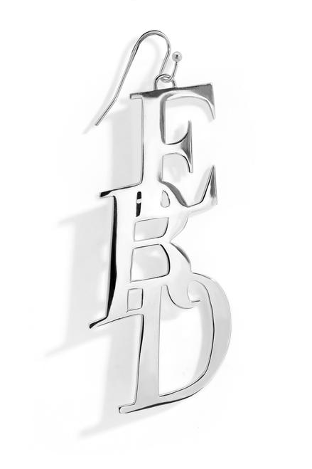 LARGE MONOGRAM EARRING - SILVER