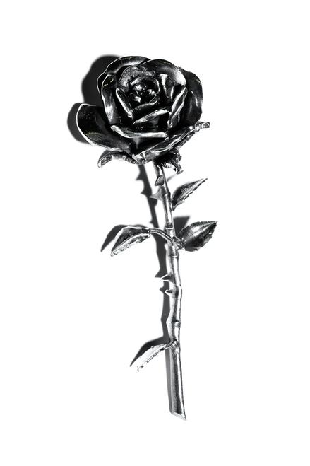 LARGE ROSE PIN - SILVER