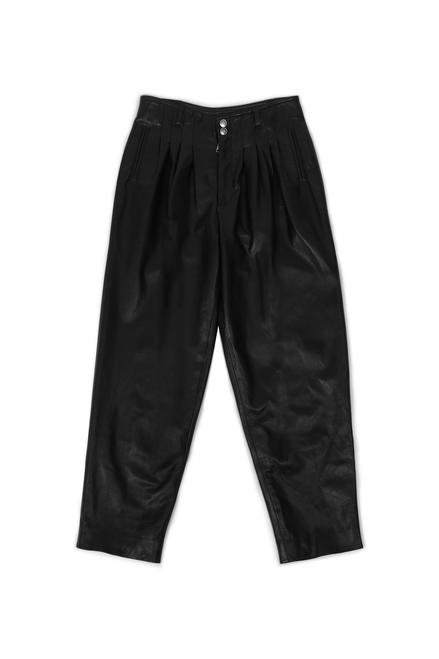 CALFSKIN PLEATED TROUSERS