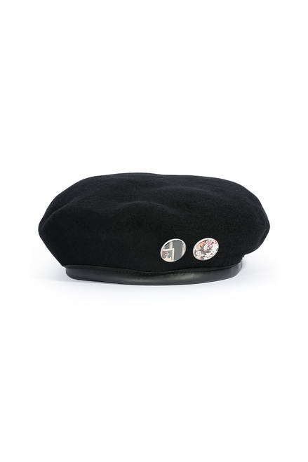 BERET WITH PINS - BLACK