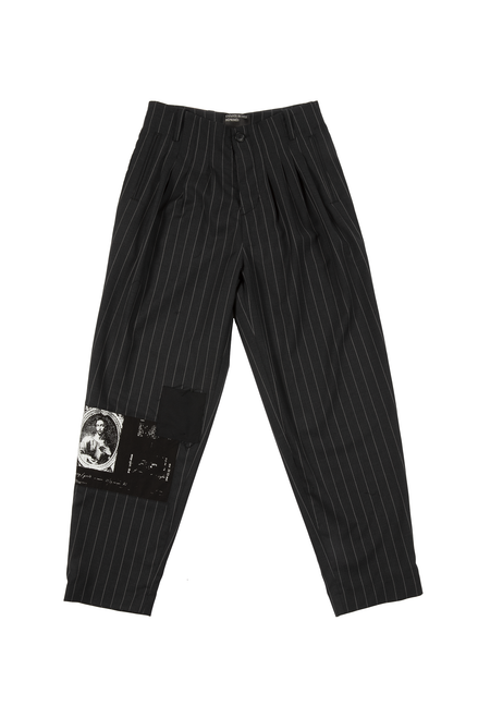 PINSTRIPE ASSEMBLAGE PLEATED TROUSERS - GREY