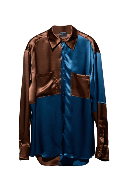 COLORBLOCKED CHEMISE MANCHES LONGUES - BLUE / BROWN