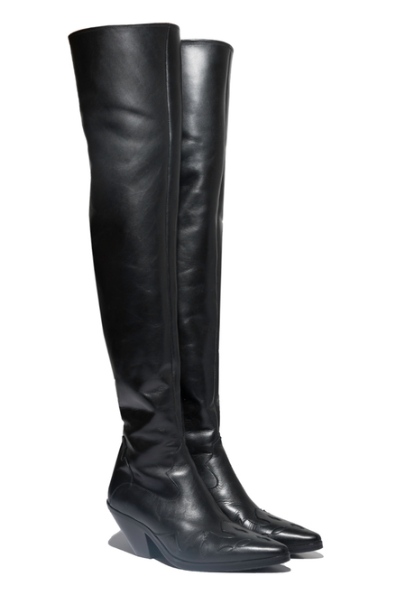OVER THE KNEE MIDNIGHT COWBOY BOOT - BLACK