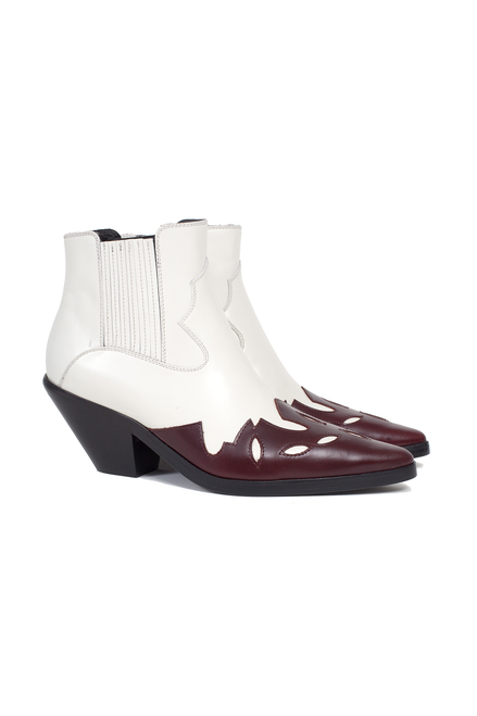 LOW MIDNIGHT COWBOY BOOTS - IVORY / BURGUNDY