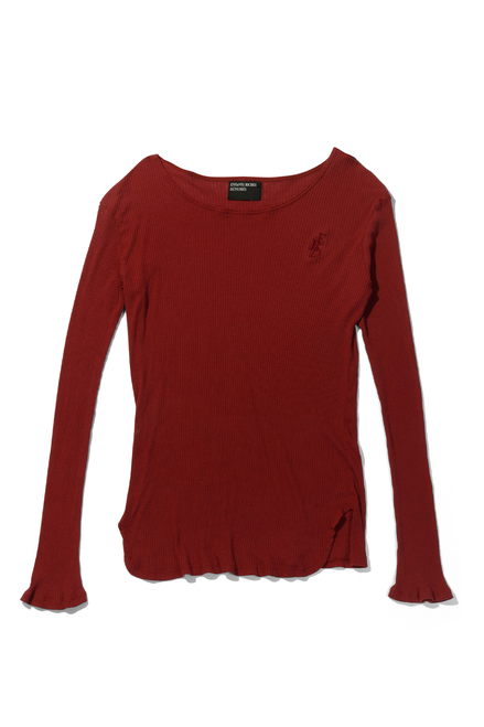 Fitted Logo Long Sleeve - Cherry